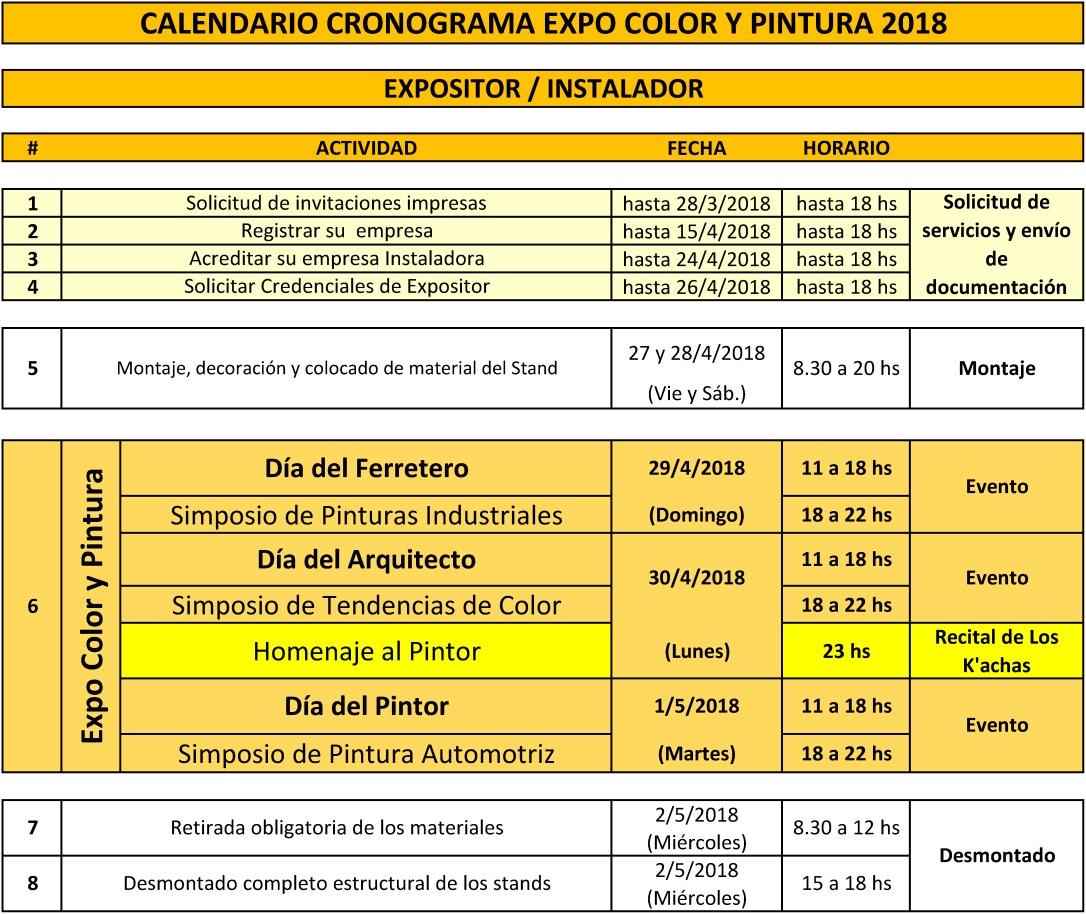 Cronograma Expo color y Pintura Expositor2