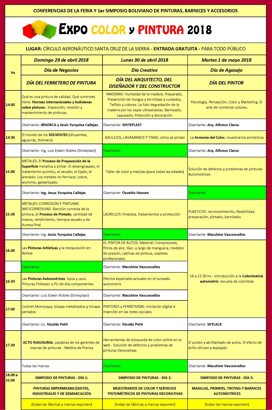 Ponentes CONFERENCIAS TÉCNICAS Y 1er SIMPOSIO BOLIVIANO DE PINTURAS, BARNICES Y ACESORIOS2DE3