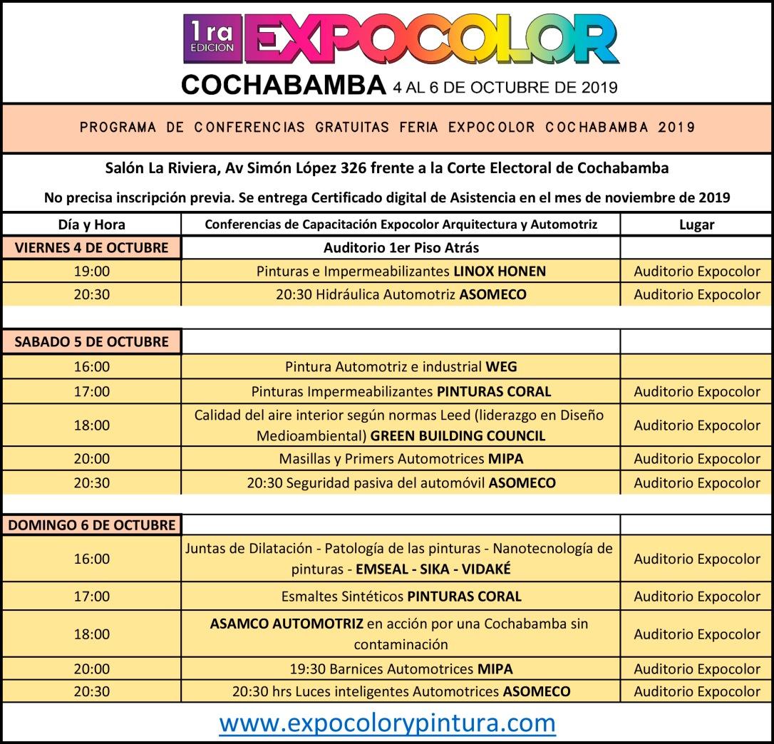 Programa de Conferencias de Capacitación Expopapeleria Santa Cruz 20019SOLOEXPOCOLOR